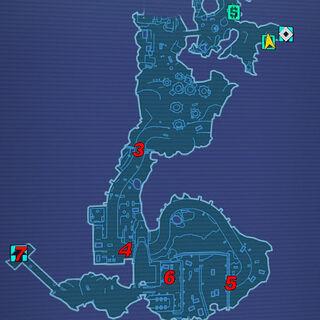 Тисяча Розрізів: 3 - силове поле; 4, 5 - ворота; 6 - шибайголовий будівник; 7 - вхід до Бункеру.