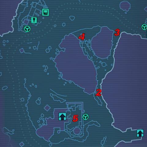 2 - південний вхід до печери; 3 - північний вхід до печери; 4 - доктор Милосерд; 5 - табір бандитів (Три Роги-Вододіл).