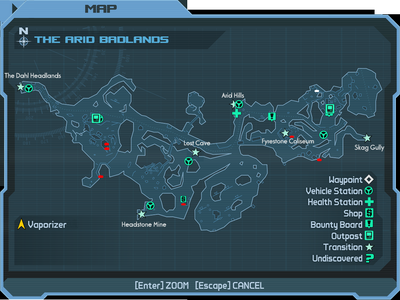 The Arid Badlands Map - Chest locations