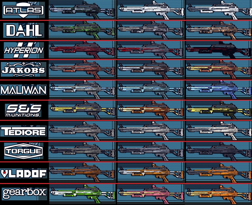 Weapon Manufacturer Materials - Borderlands Modding Resource