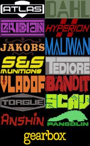 Borderlands - все лого производителей