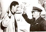 Ted Williams getting sworn into the military