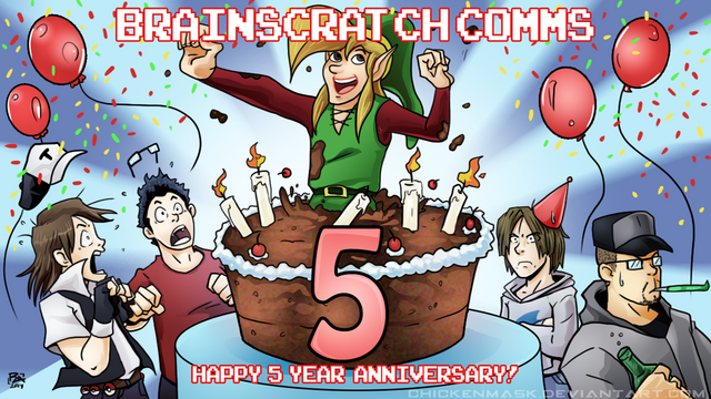 File:Brainscratch comms 5th anniversary by chickenmask-d7ddg3b.png