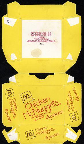 McDonald's Chicken McNuggets 4 piece box 1990
