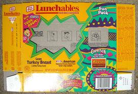 Lunchables turkey Cracker Stackers box (Hanna-Barbera toon room game) 1997