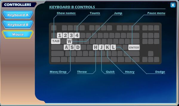 Brawlhalla keyboard controls B