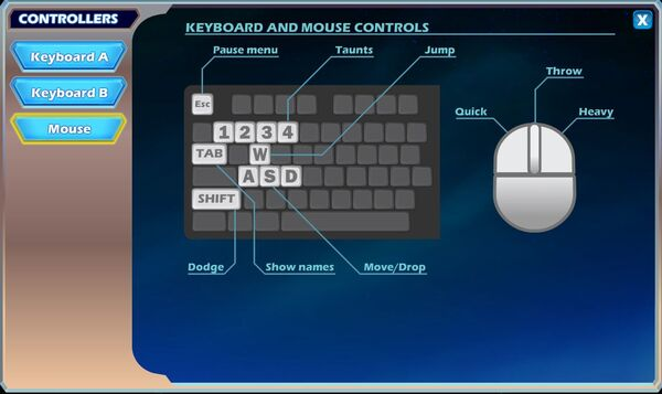 Brawlhalla keyboard controls with mouse