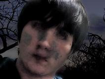 Courtney in spooky landscape