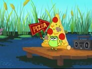Jelly in a pizza suit