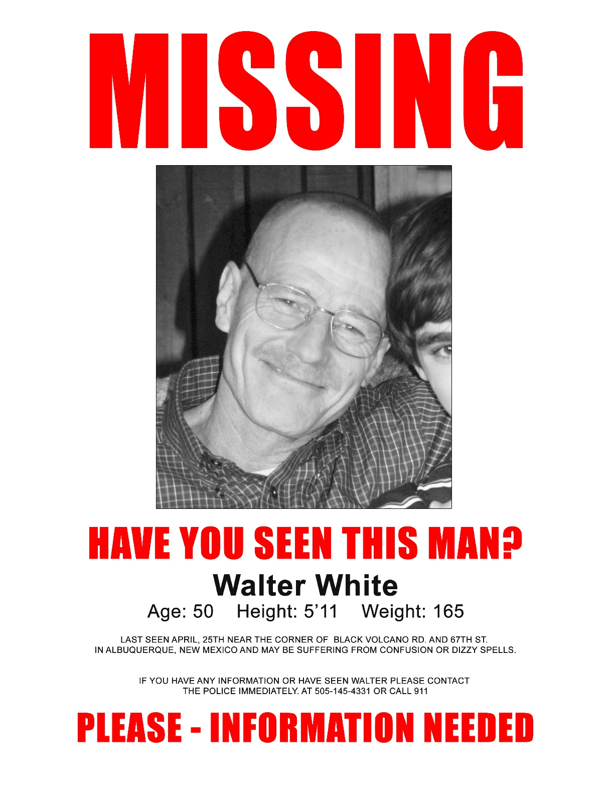 Charming Walt Missing Poster  Lost Person Poster