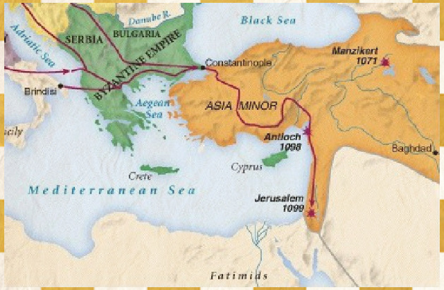 Image First crusade route to jerusalem