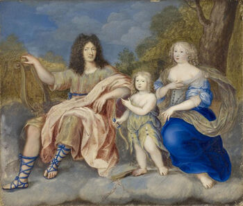 Louis XIV with Queen Marie Thérèse and the Dauphin by an unknown artist
