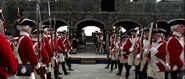 Royal Marines and officer in Fort Charles