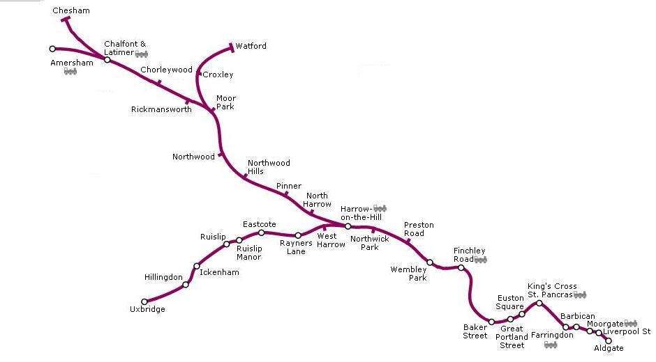 Metropolitan Line Map Image   Metropolitan line map.   british transport wiki  Metropolitan Line Map