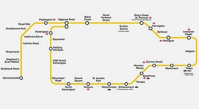 Circle Line Map Image   Circle line map. | british transport wiki | FANDOM  Circle Line Map