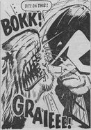 Dredd headbutts a werewolf