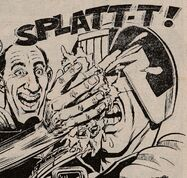 Dredd gets hit by a custard pie