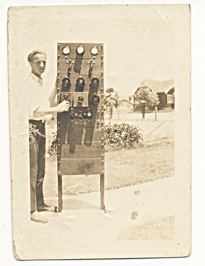 Clarence with transmitter