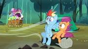 Escootalo y rainbow en insomnio en ponyville