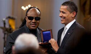 Barack Obama presents Stevie Wonder with Gershwin Award 2-25-09