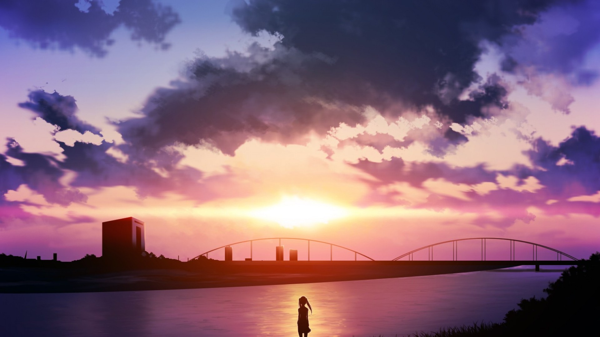 Sunset Anime Scenery Wallpaper HD