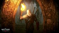 The Witcher 3 Wild Hunt Geralt exploring an underground crypt