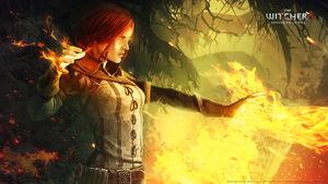 Triss lanzando hechizos