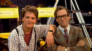 Michael and Huey on the set of Back to the Future
