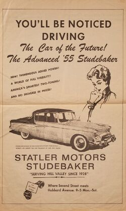 Hill Valley Telegraph - Statler Studebaker Ad