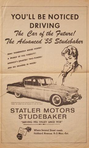 Hill Valley Telegraph - Statler Studebaker Ad