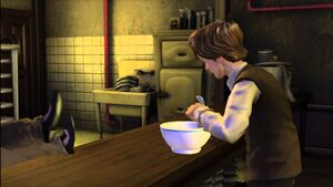 Marty eats soup