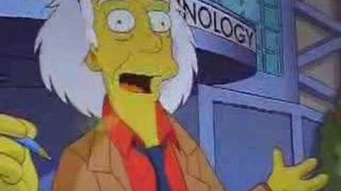 Doc. Brown's cameo in The Simpsons Ride's queue
