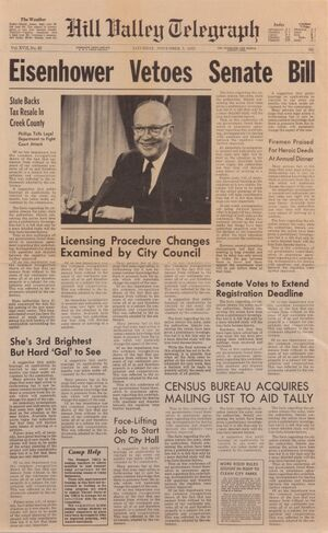 Back to the future I - Hill Valley Telegraph - Eisenhower vetoes senate bill
