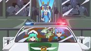 Ku, Satsuki SD, Tasuku, & Jackknife SD in Police Car