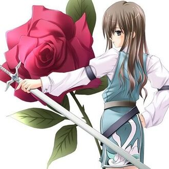 Anime girl infront of a rose by lightningstar022-d4oqgww