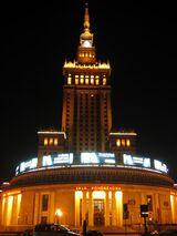 Warsaw cult palace night