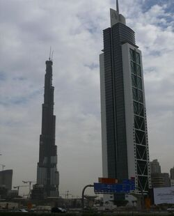 Millennium Tower and Burj Dubai on 2 November 2007