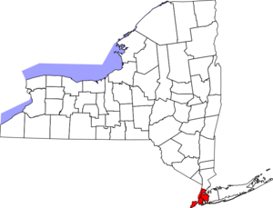 Map of New York Highlighting New York City
