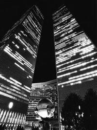 World trade center new york city plaza fountain black and white