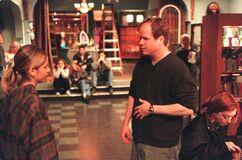 Joss and sarah on set