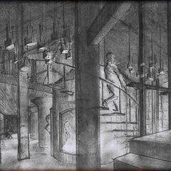 Croquis de l'intérieur de l'usine