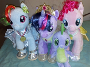 389047 safe twilight252Bsparkle rainbow252Bdash pinkie252Bpie spike plushie alicorn build-dash-a-dash-bear
