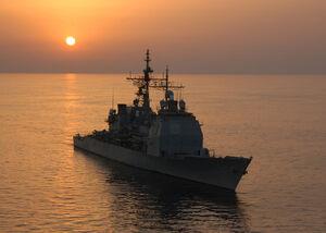 USS Vicksburg 28CG 6929 sunset 2004