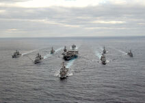 US Navy 031130-N-3653A-002 USS George Washington (CVN 73) Carrier Strike Group formation sails in the Atlantic Ocean