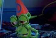 Bumpy wearing a dunce hat