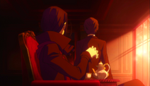 Mori watches Dazai as he leaves the Port Mafia