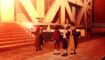 Ranpo, Atsushi and Dazai leaving the police station