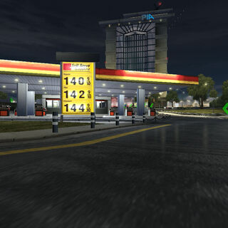 The same Gas Station, seen when emerging from the Tunnel.