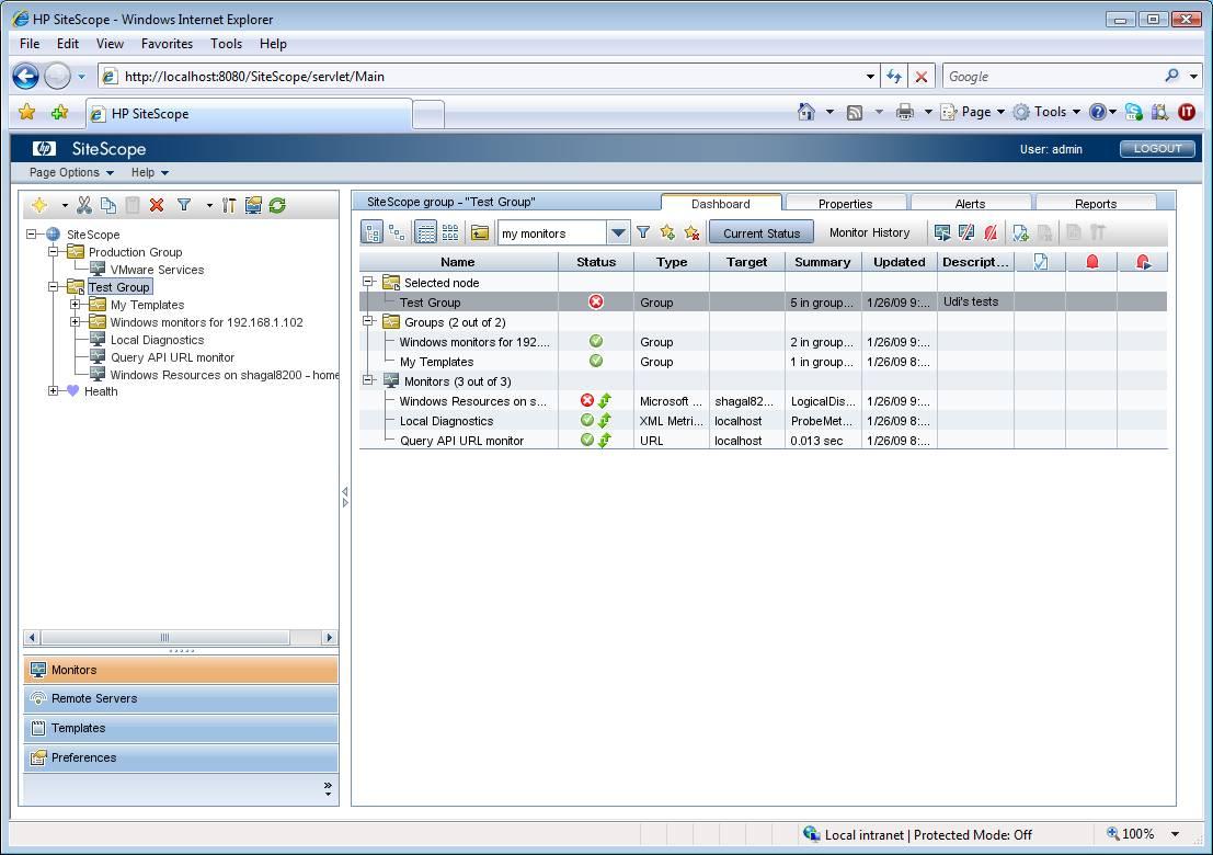 HP SiteScope software