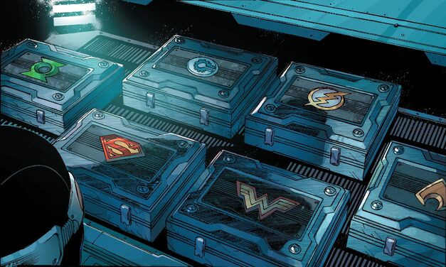 justice league hero logos on suitcases